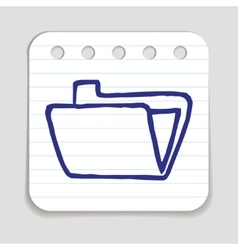 Doodle folder icon vector