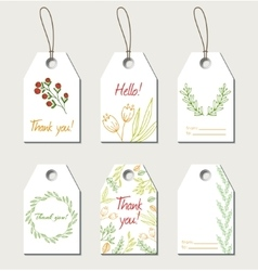 Set of floral gift tags vector