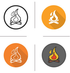 Campfire flat design linear and color icons set vector