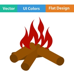 Flat design icon of camping fire vector