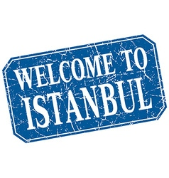 Welcome to istanbul blue square grunge stamp vector
