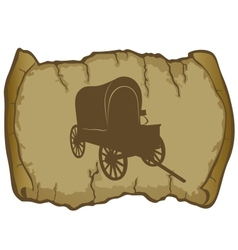 An old wagon and parchment vector