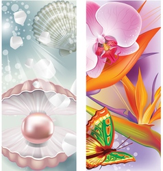 Vertical banners with pearl and flowers vector image