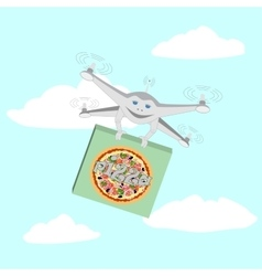 Drone air delivery pizza vector