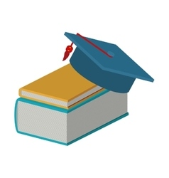 books and graduation cap vector image
