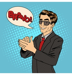 Businessman applauds bubble expression bravo vector
