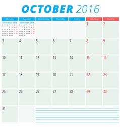 Calendar 2016 flat design template october week vector