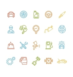 Car service outline colorful icons set vector