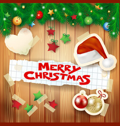 christmas background with hat and text vector image vector image