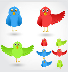 Colorful cartoon birds collection vector