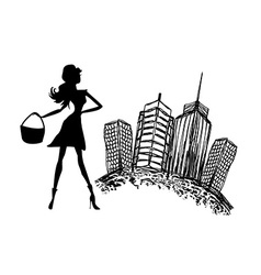 Fashion girl silhouette shopping in the city vector