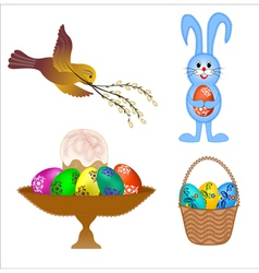 four isolated set for Easter cards vector image