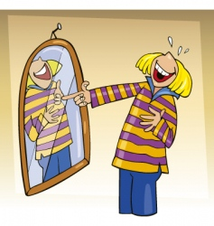 girl laughing to mirror vector image vector image