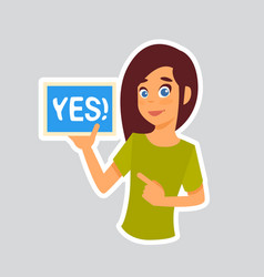 Girl says yes sticker for messenger label icon vector