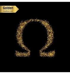 Gold glitter icon of omega isolated on vector