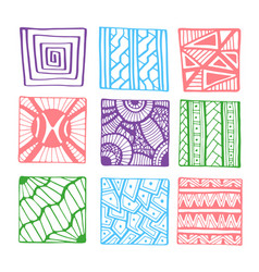 Hand drawn squares for coloring book page or vector
