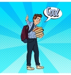 Happy schoolboy with backpack and books vector
