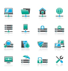 hosting and internet icons vector image vector image
