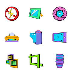 Photo equipment icons set cartoon style vector