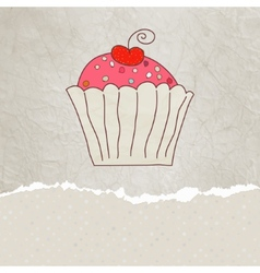 Retro card with cupcake eps 8 vector