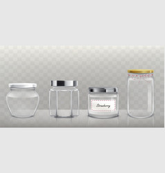 Set of empty glass jars with lids in vector
