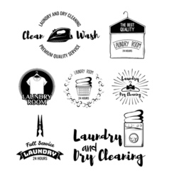set of laundry labels emblems and design elements vector image