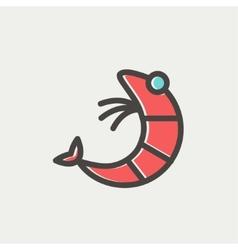 Shrimp thin line icon vector image vector image
