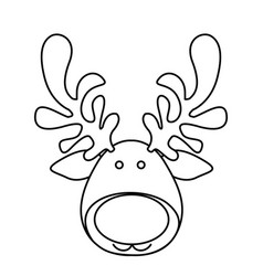 silhouette cartoon funny face reindeer animal vector image