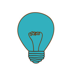 Silhouette of light bulb in blue color vector