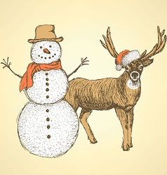 Sketch snowman and raindeer in vintage style vector image
