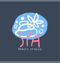 spa and beauty studio logo emblem for wellness vector image vector image