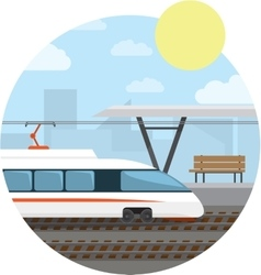 Train Station High-speed train at the railway vector image