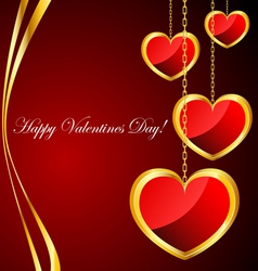 Valentine background with heart pendants vector image