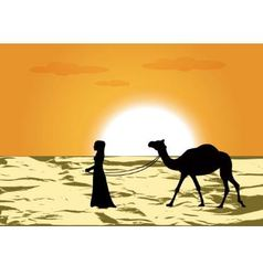 Woman leads a camel vector
