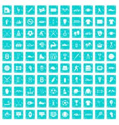 100 athlete icons set grunge blue vector