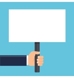 hand holding a sign or blank poster Horizontal vector image