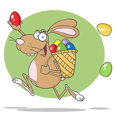Brown easter rabbit running with a basket and egg vector