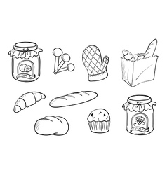 Doodle design of bread and jam vector image