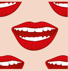 Red smiling womans lips seamless pattern vector