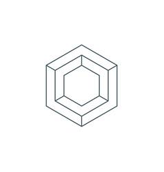 thin line hexagon symbol vector image