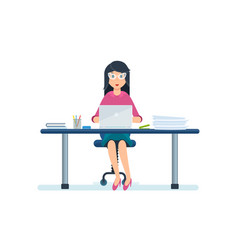 Employee sitting in office working at laptop vector