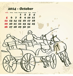 October 2014 hand drawn horse calendar vector