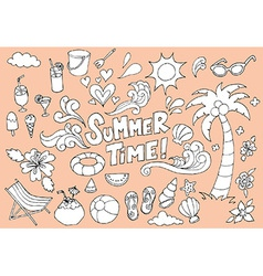 Summer Fun Hand Drawn Doodles Sketch vector image