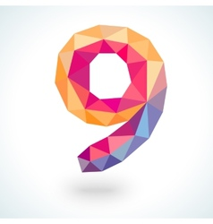 Number nine in modern polygonal crystal style vector