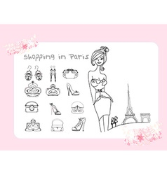 Feminine doodles shopping in paris vector
