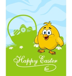 Easter card with decorated eggs and cute chicken vector