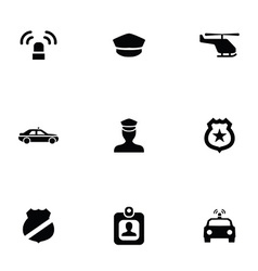 Police 9 icons set vector