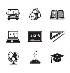 School education monochrome icons set with - globe vector
