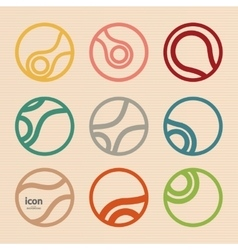 Set abstract circle icon molecule design vector
