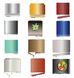 Kitchen equipment  refrigerators top view set 6 vector